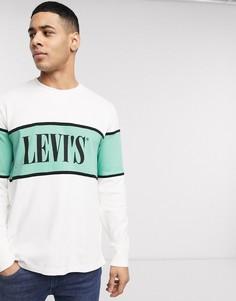 Белый свитшот колор блок с логотипом Levis