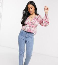 Розовая блузка с запахом и баской Vero Moda Petite-Мульти