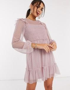 Розовое сетчатое платье с длинными рукавами и сборками River Island-Розовый