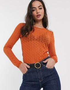 Топ из сетки добби с длинными рукавами Y.A.S-Оранжевый