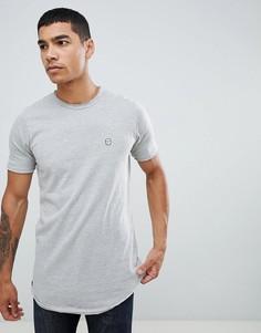 Длинная меланжевая футболка Le Breve-Серый