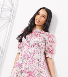 Розовое платье мини с объемными рукавами и цветочным принтом Vero Moda Petite-Мульти