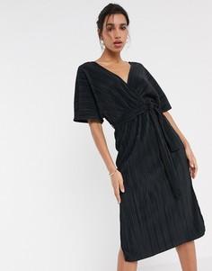 Черное плиссированное платье миди с запахом и рукавами-кимоно Y.A.S-Черный