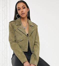 Замшевая байкерская куртка оливкового цвета ASOS DESIGN Tall-Зеленый