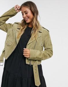 Замшевая байкерская куртка оливкового цвета ASOS DESIGN-Зеленый