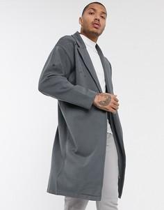 Черная легкая трикотажная oversize-куртка с рваной отделкой ASOS DESIGN-Серый