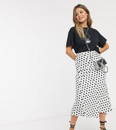 Атласная юбка миди с цветочным принтом Reclaimed Vintage-Мульти