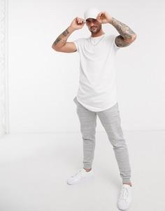 Белая длинная футболка Topman-Белый
