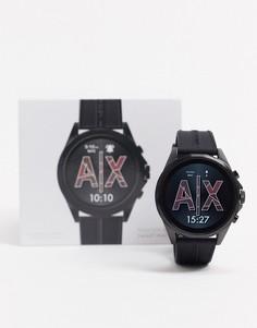 Черные смарт-часы с силиконовым ремешком Armani Exchange Drexler AXT2007-Черный