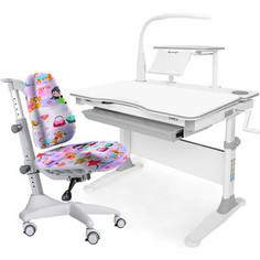 Комплект мебели (стол+полка+кресло+чехол+лампа) Mealux Evo-30 G (Evo-30 G + Y-528 GL) белая столешница дерево/серый