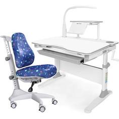 Комплект мебели (стол+полка+кресло+чехол+лампа) Mealux Evo-30 G (Evo-30 G + Y-528 F) белая столешница дерево/серый