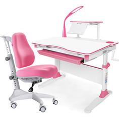 Комплект мебели (стол+полка+кресло+чехол+лампа) Mealux Evo-30 PN (Evo-30 PN + Y-528 KP) белая столешница дерево/розовый
