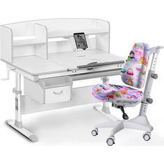 Комплект мебели (стол+полка+кресло+чехол) Mealux Evo-50 G (Evo-50 G + Y-528 GL) белая столешница/серый