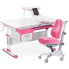 Комплект мебели (стол+полка+кресло+чехол) Mealux Evo-40 PN (Evo-40 PN + Y-528 KP) белая столешница/розовый