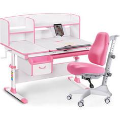 Комплект мебели(стол+полка+кресло+чехол) Mealux Evo-50 PN (Evo-50 PN + Y-528 KP) белая столешница/розовый