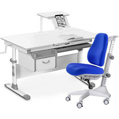 Комплект мебели (стол+полка+кресло+чехол) Mealux Evo-40 G (Evo-40 G + Y-528 SB) белая столешница/серый