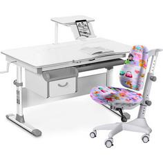 Комплект мебели (стол+полка+кресло+чехол) Mealux Evo-40 G (Evo-40 G + Y-528 GL) белая столешница/серый