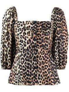 GANNI блузка с леопардовым принтом