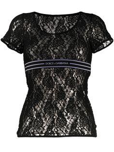 Dolce & Gabbana кружевная футболка с логотипом