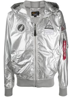 Alpha Industries x NASA metallic hooded jacket