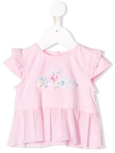 Lapin House футболка с принтом роз и оборками