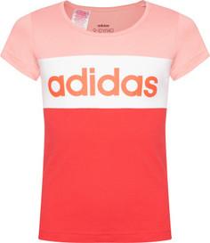 Футболка для девочек Adidas Linear Logo Colorblock, размер 140