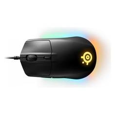 Мышь STEELSERIES Rival 3, игровая, оптическая, проводная, USB, черный [62513]