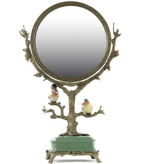 Зеркало настольное Glasar в бронзовой оправе и на фарфоровом основании 37х14х56см ГЛАСАР
