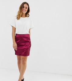Атласная мини-юбка с драпировкой Naf Naf-Красный