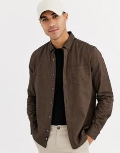 Коричневая оксфордская рубашка с длинными рукавами Burton Menswear-Оранжевый