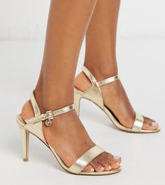 Золотистые легкие босоножки для широкой стопы на каблуке Miss KG-Золотой