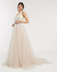 Свадебное сетчатое платье с вышитым лифом ASOS EDITION-Белый