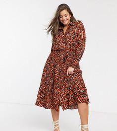 Платье-рубашка макси с ацтекским принтом Only Curve-Красный