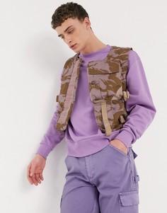 Фиолетовый жилет в стиле милитари с камуфляжным принтом Milk It Vintage