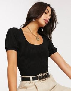 Черная футболка с объемными рукавами Stradivarius-Черный
