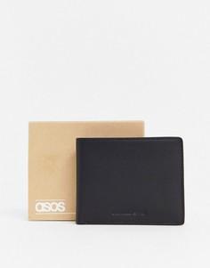 Черный кожаный бумажник с бордовой подкладкой и тиснением логотипа ASOS DESIGN