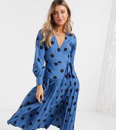 Платье миди в горошек с запахом и плиссированной юбкой Wednesdays Girl-Синий