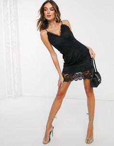 Черное ажурное платье мини с глубоким вырезом Missguided-Черный