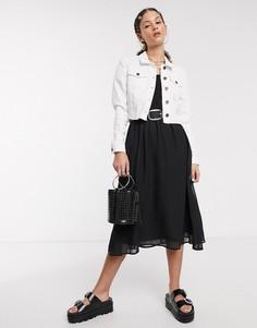 Белая короткая джинсовая куртка с необработанным краем Noisy May-Белый
