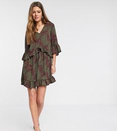 Свободное платье мини с абстрактным принтом и оборками на рукавах Vero Moda Tall-Серый