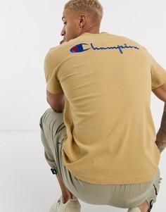 Светло-бежевая футболка с круглым вырезом Champion-Светло-бежевый