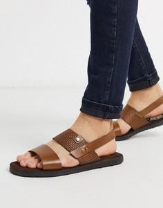 Светло-коричневые кожаные сандалии Base london-Светло-коричневый
