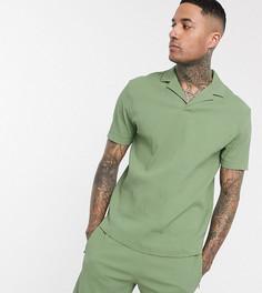 Зеленая свободная футболка-поло от комплекта с отложным воротником ASOS DESIGN Tall-Зеленый