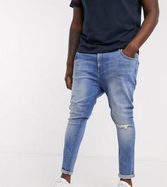 Синие джинсы стретч с напылением и рваными коленями ASOS DESIGN Plus-Синий