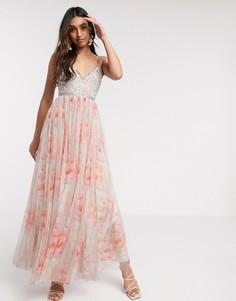 Платье макси на бретелях с цветочным принтом Needle & Thread-Мульти