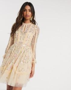 Платье мини лимонного цвета с вышитыми розами Needle & Thread-Желтый