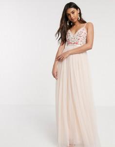 Розовое платье на бретельках с вышивкой Needle & Thread-Розовый
