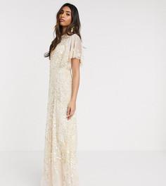 Платье макси с отделкой Needle & Thread-Розовый