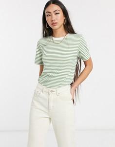 Зеленая футболка в полоску Selected Femme-Мульти