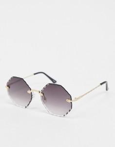 Золотистые солнцезащитные очки без оправы Selected Femme-Золотой